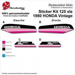 Sticker Kit 125 xls 1980 HONDA Vintage Noir Rose Rose