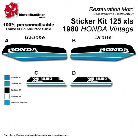 Sticker Kit 125 xls 1980 HONDA Vintage Noir Bleu Vert Bleu Clair