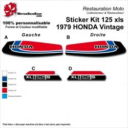 Sticker Kit 125 xls 1979 HONDA Vintage Noir Bleu Blanc Moto vintage Honda