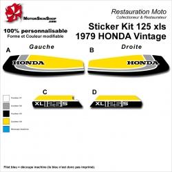 Sticker Kit 125 xls 1979 HONDA Vintage Noir Gris Jaune Réservoir et plaques latérales