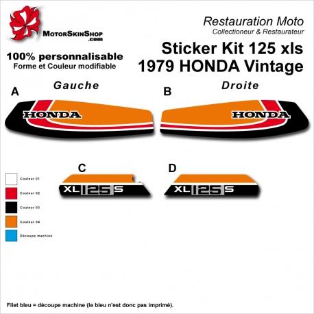 Sticker Kit 125 xls 1979 HONDA Vintage Noir Rouge Orange Réservoir et plaques latérales