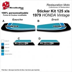 Sticker Kit 125 xls 1979 HONDA Vintage Noir Bleu Clair Vert Clair Réservoir et plaques latérales