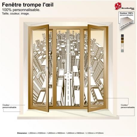 Sticker fenêtre trompe l'œil Tour Eiffel Paris