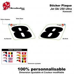 Sticker plaque numéro 250 Ultra Kawasaki