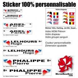 Sticker nominatif Moto Quad Karting Karting Jet Ski personnalisable