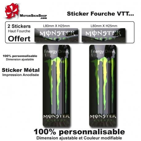 Sticker fourche vélo VTT Métal Monster Energy