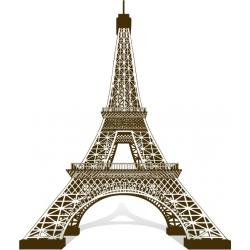 Sticker Tour Eiffel 3D Vecteur au trait couleur