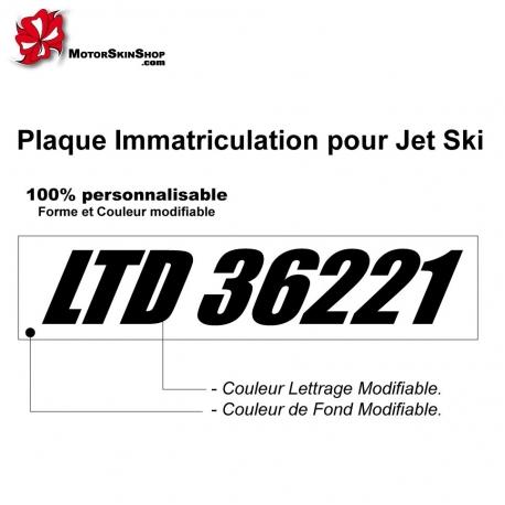 Plaque immatriculation Jet SKI personnalisable
