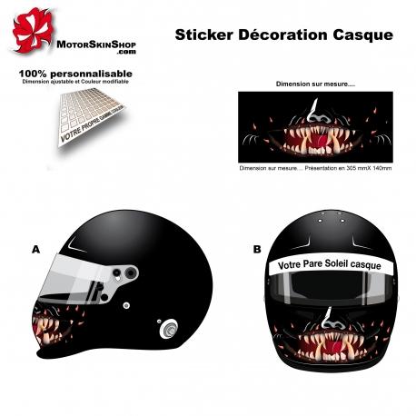 Sticker décoration casque mentonnière personnalisé