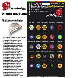 Planche Sticker Beyblade Toupie (25 stickers)