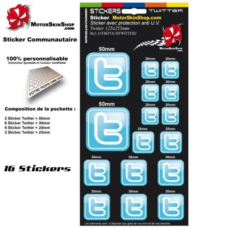 Pochette Sticker Twitter autocollant