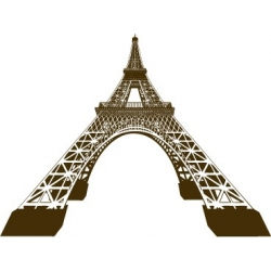 Sticker Tour Eiffel 3D vecteur déformée au trait couleur