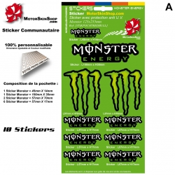 Pochette Monster Energy Sticker autocollant décoration casque