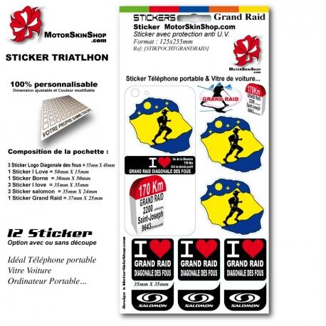 Sticker Grand Raid de la diagonale des fous personnalisable