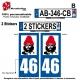 Sticker plaque immatriculation bonnet rouge