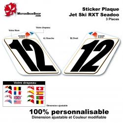 Sticker plaque numéro RXT 3 places seadoo