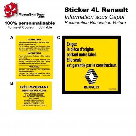Sticker 4L Renault information capot