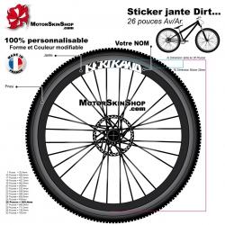 Sticker jante Votre Nom Dirt VTT