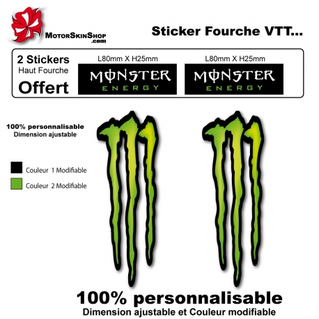 Sticker fourche vélo Monster Energy