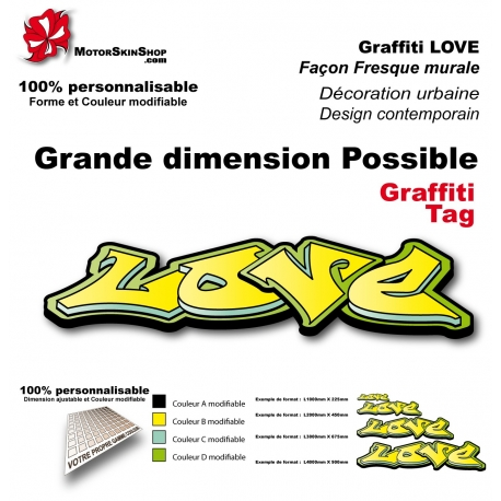 Sticker Love graffiti décoration mur urbain