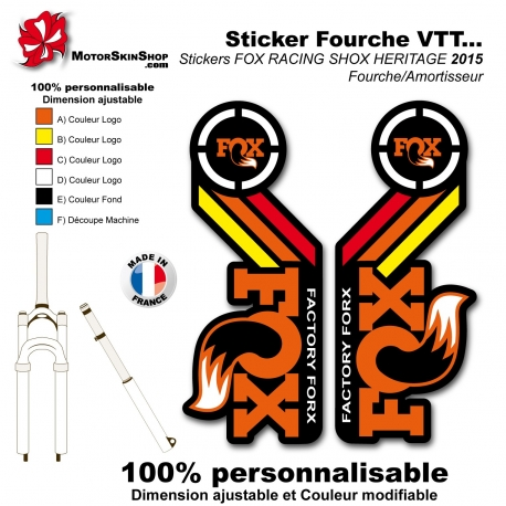 Sticker Fox Racing Shox Heritage 2015 Rouge