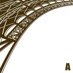Sticker structure Tour Eiffel métallique 3D vecteur