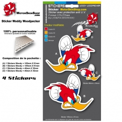 Planche Sticker Casque Woody Woodpecker