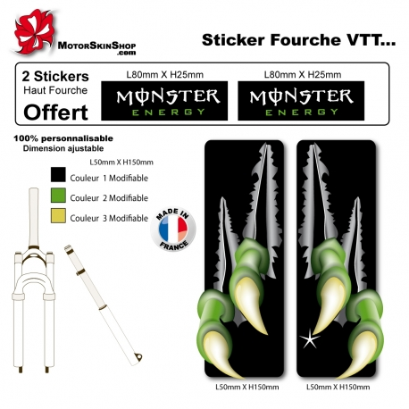 Sticker fourche VTT Monster Energy Griffe