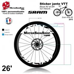 Sticker jante Sram Rise 2015 VTT