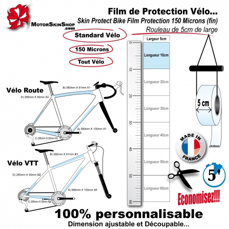 Film de Protection Vélo unitaire 5cm de large économique