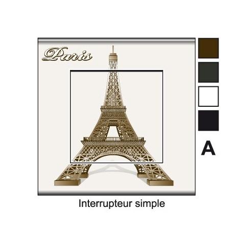 Sticker prise Tour Eiffel Paris interrupteur 3D vecteur
