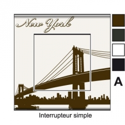 Sticker prise New York Interrupteur universel