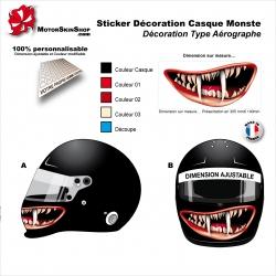 Sticker Décoration casque Sourire monstre mentonnière